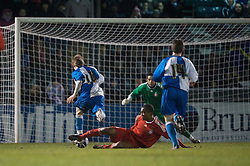 BRISTOL, ENGLAND - Thursday, January 15, 2009: Liverpool's Andre Wisdom brings down Bristol Rovers' Nabi Diallo in the penalty area to concede a penalty during extra time of the FA Youth Cup match at the Memorial Stadium. (Mandatory credit: David Rawcliffe/Propaganda)