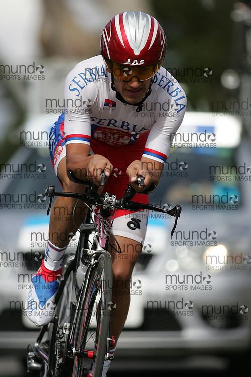 (Geelong, Australia---30 September 2010) Esad HASANOVIC of Serbia racing to 40th place in the Elite Men's Time Trial race at the 2010 UCI Road World Championships [2010 Copyright Sean Burges / Mundo Sport Images -- www.mundosportimages.com]