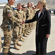 KABUL -- 7/7/12 -- U.S. Secretary of State Hillary Rodham Clinton greets a U.S. Airman during her visit to Kabul International Airport enroute to Japan today to greet Sailors, Soldiers, Airmen and Marines along with their NATO counterparts.   U.S. Navy photo by Chief Mass Communication Specialist Roger S. Duncan (RELEASED)