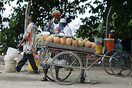 Street vendor selling pineapples in Dar es Salaam, Tanzania.