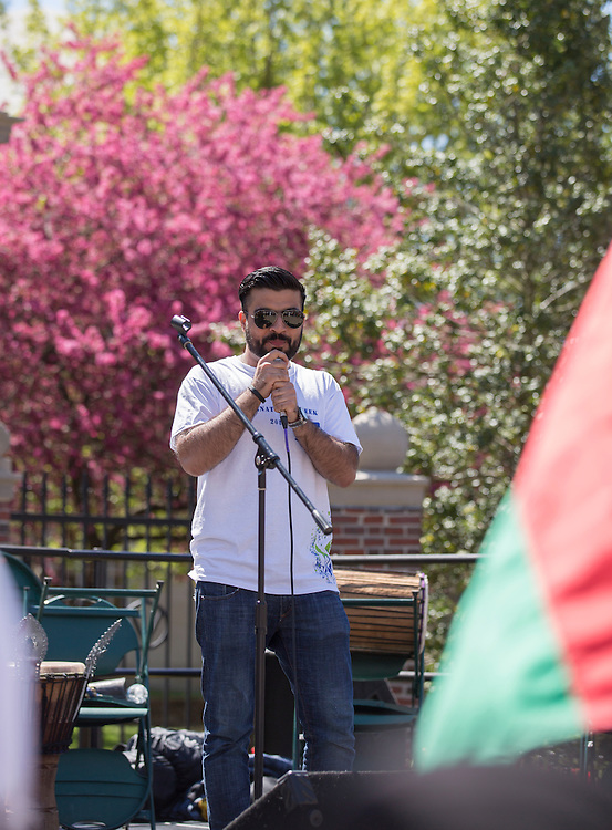 Hashim Pashtun, the president of the International Student Union speaks at the International Street Fair on April 16, 2016.