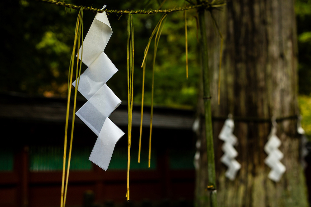 Shide are strips of white paper, zigzag-shaped, that in Shinto, the original religion of Japan, are often used to mark a sacred place.