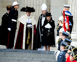 Her Majesty the Queen with Lord Mayor of London leave St Paul's Cathedral at the end of the ceremonial funeral, St Paul's Cathedral, London, UK, Wednesday 17 April, 2013, Photo by: i-Images
