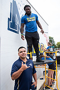 Los Angeles Rams running back Darrell Henderson during community improvement project at Belvedere Elementary School to upgrade play and social spaces around the school by building a new playground structure, painting murals and basketball backboards and landscaping., Friday, June 14, 2019, in Los Angeles, Calif. (Ed Ruvalcaba/Image of Sport)