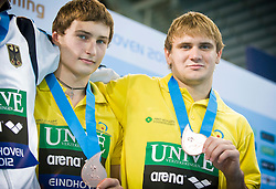 19.05.2012, Pieter van den Hoogenband Swimming Stadium, Eindhoven, NED, LEN, Turmspring Europameisterschaft 2012, Herren Synchonspringen 10m Turm, im Bild Oleksandr Bondar and Pleksandr Gorshkovozov (UKR) bronze medal // during Men's 10m platform synchro - preliminary of LEN Diving European Championships at Pieter van den Hoogenband Swimming Stadium, Eindhoven, Netherlands on 2012/05/19. EXPA Pictures © 2012, PhotoCredit: EXPA/ Insidefoto/ Giorgio Perottino..***** ATTENTION - for AUT, SLO, CRO, SRB, SUI and SWE only *****