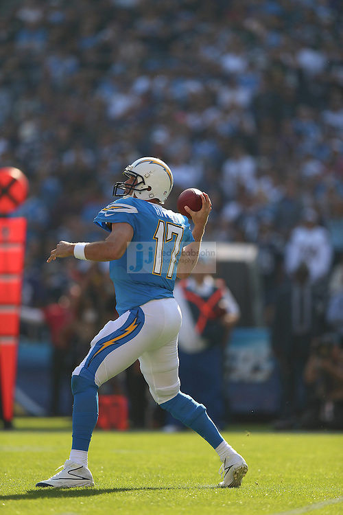 San Diego Chargers quarterback Philip Rivers (17) passes against the Baltimore Ravens during an NFL game on Sunday, November 25, 2012 in San Diego, CA.  (Photo by Jed Jacobsohn)