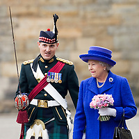 HRH Queen Elizabeth II accompanied by a scottish officer at the Ceremony of the Keys,  Edinburgh, Scotland, july 2006<br />