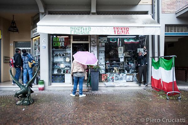 Foto Piero Cruciatti / LaPresse<br /> 27-04-2014 Predappio, Italia<br /> Societa<br /> Commemorazioni per la morte di Benito Mussolini a Predappio<br /> Nella foto: negozio di Souvenir a Predappio<br />  <br /> Photo Piero Cruciatti / LaPresse<br /> 27-04-2014 Predappio, Italy<br /> Society<br /> Commemorations for Benito Mussolini&rsquo;s death in Predappio<br /> In the photo: Souvenir shop in Predappio