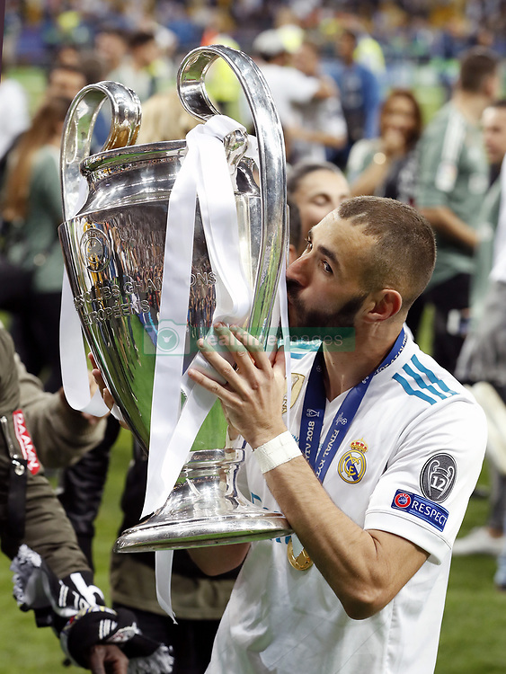 Karim Benzema of Real Madrid with UEFA Champions League trophy, Coupe des clubs Champions Europeens during the UEFA Champions League final between Real Madrid and Liverpool on May 26, 2018 at NSC Olimpiyskiy Stadium in Kyiv, Ukraine
