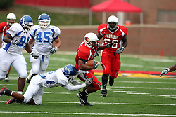 13 October 2007: Rafael Rice gets caught by Ryan Patrick as he makes his way past the line of scrimmage. The Indiana State Sycamores were jacked 69-17 by the Illinois State Redbirds at Hancock Stadium on the campus of Illinois State University in Normal Illinois.
