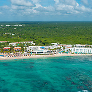 Aerial view of the Grand Oasis Tulum. Riviera Maya, Mexico.