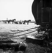 Horse drawn caravan on camp site, Glastonbury, Somerset, 1989