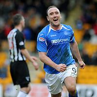 St Johnstone v Dunfermline....25.02.12   SPL<br /> Lee Croft celebrates his goal<br /> Picture by Graeme Hart.<br /> Copyright Perthshire Picture Agency<br /> Tel: 01738 623350  Mobile: 07990 594431
