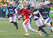 Jan 27, 2019; Orlando, FL, USA; AFC wide receiver Andre Roberts of the New York Jets (19) runs during a punt return in the NFL Pro Bowl football game at Camping World Stadium.  The AFC beat the NFC 26-7. (Steve Jacobson/Image of Sport)