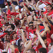 New York Red Bulls fans celebrate an early goal during the New York Red Bulls Vs NYCFC, MLS regular season match at Red Bull Arena, Harrison, New Jersey. USA. 10th May 2015. Photo Tim Clayton