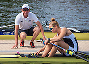 Henley on Thames, England, United Kingdom, 5th July 2019, Henley Royal Regatta, Molesey Head Coach - Phil Bourguignon and Women's single Sculls, Elo Luik, Henley Reach, [© Peter SPURRIER/Intersport Image]<br />