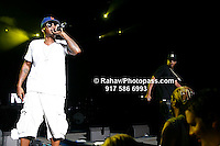 Nas and Jay-Z (in black) performing at Nikon at Jones Beach Amphitheater for 'Rock The Bells' 2008 on August 3, 2008. .. Rock The Bells