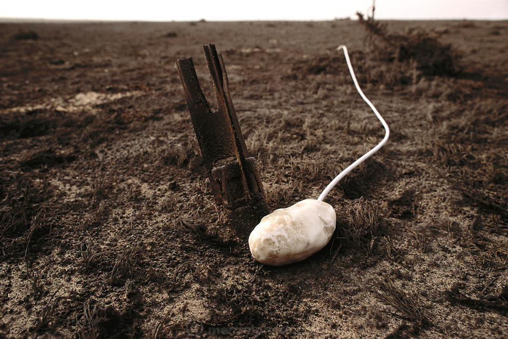 An unexploded rockeye submunition (cluster bomb), in the Magwa Oil Field. After finding these rockeye submunitions all over Kuwait, the British Explosive Ordinance Disposal Team detonate them with plastic explosives from a safe distance. Nearly a million land mines were deployed on the beaches and along the Saudi and Iraqi border. In addition, tens of thousands of unexploded bomblets (from cluster bombs dropped by Allied aircraft) littered the desert. July 1991. More than 700 wells were set ablaze by retreating Iraqi troops creating the largest man-made environmental disaster in history.
