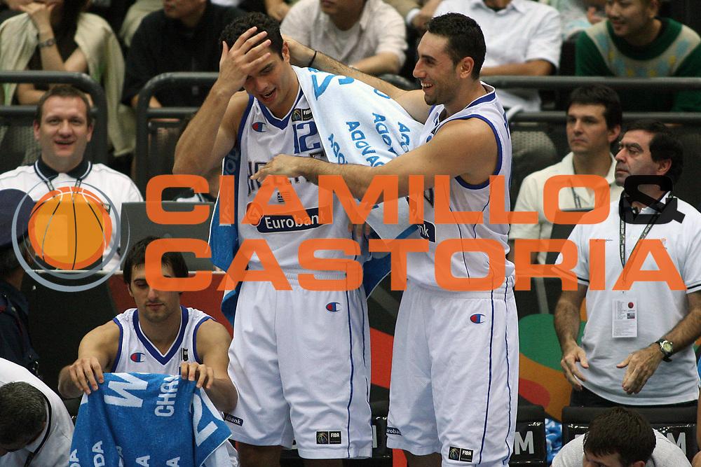 DESCRIZIONE : Saitama Giappone Japan Men World Championship 2006 Campionati Mondiali Semifinal Greece-Usa <br /> GIOCATORE : Tsartsaris Dikoudis <br /> SQUADRA : Greece Grecia <br /> EVENTO : Saitama Giappone Japan Men World Championship 2006 Campionato Mondiale Semifinal Greece-Usa <br /> GARA : Greece Usa Grecia Stati Uniti America <br /> DATA : 01/09/2006 <br /> CATEGORIA : Esultanza <br /> SPORT : Pallacanestro <br /> AUTORE : Agenzia Ciamillo-Castoria/E.Castoria <br /> Galleria : Japan World Championship 2006<br /> Fotonotizia : Saitama Giappone Japan Men World Championship 2006 Campionati Mondiali Semifinal Greece-Usa <br /> Predefinita :