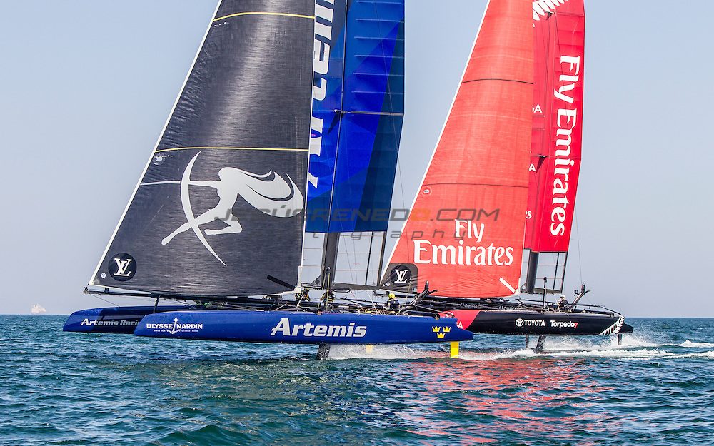 Louis Vuitton America's Cup World Series 2016 Oman. Artemis Racing,Nathan Outteridge,Iain Percy,Luke Parkinson,Kalle Torlen,Chris Brittle. Emirates Team New Zealand, Glenn Ashby,Pete Burling,Ray Davies,Blair Tuke,Guy Endean. Muscat ,The Sultanate of Oman.Image licensed to Jesus Renedo/Lloyd images/Oman Sail