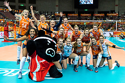 15-10-2018 JPN: World Championship Volleyball Women day 16, Nagoya<br /> Netherlands - USA 3-2 / Dutch Team party the 3-2 victory.
