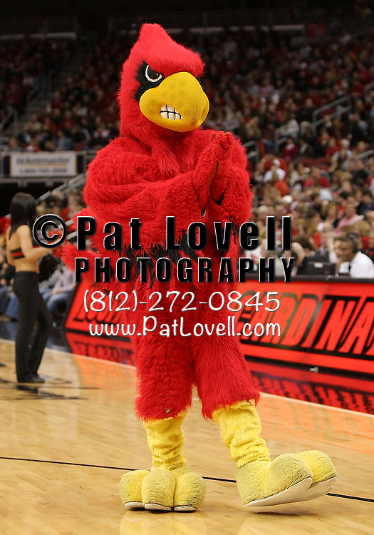 January 14, 2012 -  University of Louisville Cardinal mascot during an NCAA basketball game between DePaul and (#15) Louisville. at the KFC Yum! Center in Louisville, Kentucky.