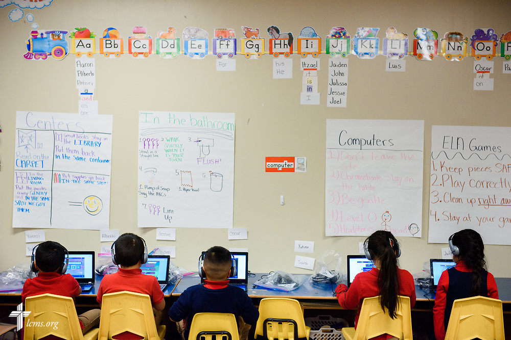 Students in Amanda Recore's kindergarten class work on computer stations at St. Martini Lutheran School on Tuesday, Nov. 14, 2017, in Milwaukee. LCMS Communications/Erik M. Lunsford