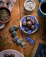 "Carlotta's Chocolate""s salted caramel truffles with Icelandic sea salt and thyme, Brechin, Scotland"
