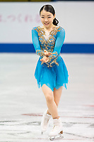 KELOWNA, BC - OCTOBER 26: Ladies silver medalist, Japanese figure skater Rika Kihira stands on the ice during medal ceremonies of Skate Canada International held at Prospera Place on October 26, 2019 in Kelowna, Canada. (Photo by Marissa Baecker/Shoot the Breeze)