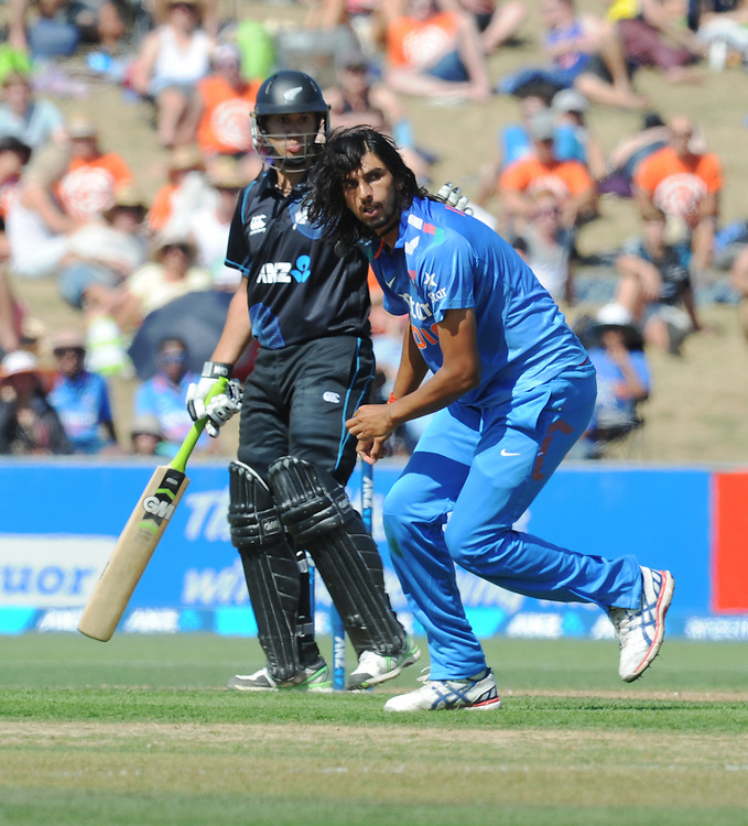 India's Ishant Sharma looks back as he is hit to the boundary by New Zealand's Ross Taylor in the first one day International cricket match, McLean Park, New Zealand, Sunday, January 19, 2014. Credit:SNPA / Ross Setford