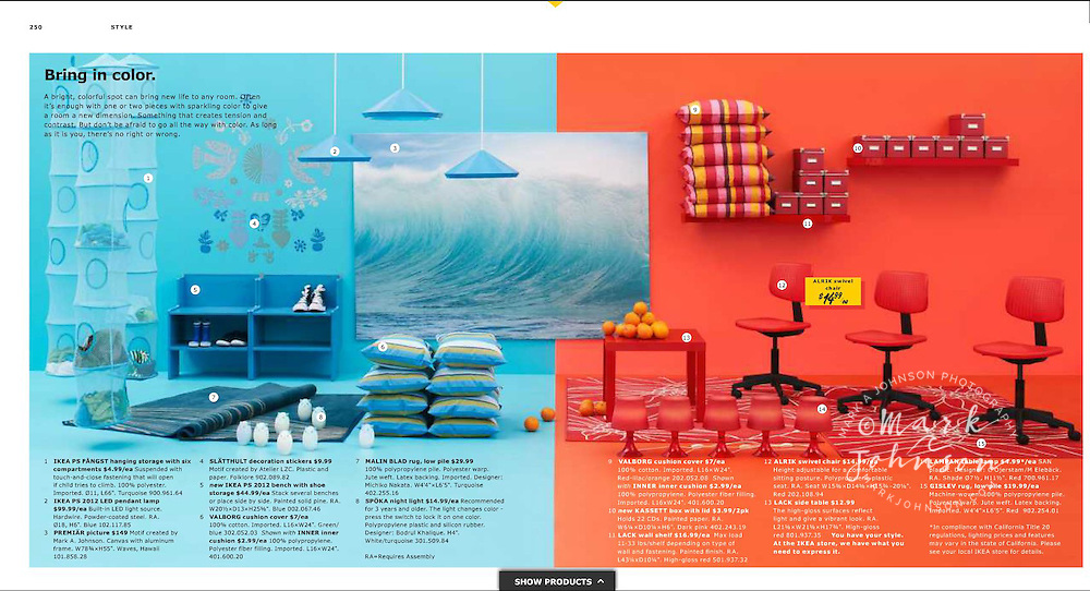 My Hawaiian wave photo features in the 2013 Ikea Catalog.