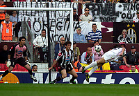 Photo. Richard Lane<br />AC Milan v Juventus. UEFA Champions League Cup Final. 28/05/2003.<br />Filippo Inzaghi heads goalwards