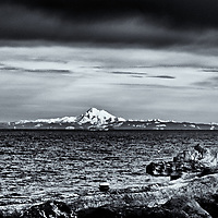 Ediz Hook &amp; Mt Baker<br /> editted &amp; converted to B&amp;W 7/26/18  #1 of 1<br /> 1st printed 08/02/18<br /> 17x22 Primium Glossy Epson