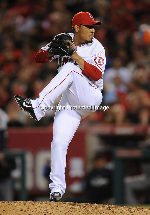 31 Mar. 2014: Los Angeles Angels of Anaheim pitcher (59) Fernando Salas in action during an opening day game against the Seattle Mariners played at Angel Stadium of Anaheim.