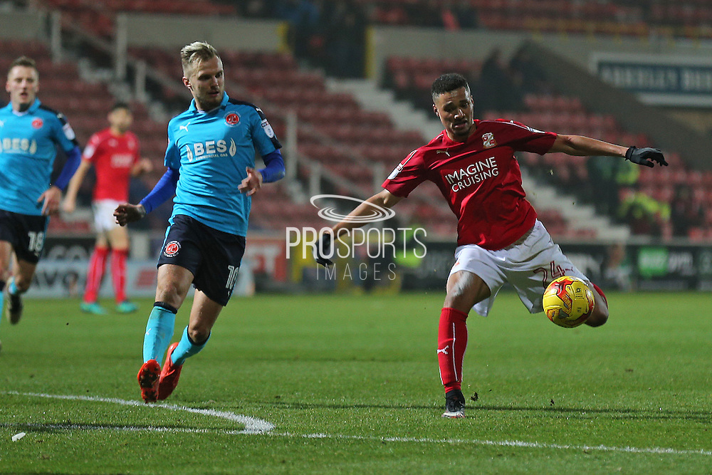 Swindon Jermaine Hylton (24) attempts a shot on goal  second half 1-1  during the EFL Sky Bet League 1 match between Swindon Town and Fleetwood Town at the County Ground, Swindon, England on 17 December 2016. Photo by Gary Learmonth.