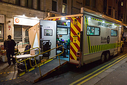 London, December 31 2017. A St Johns Ambulance treatment Clinic awaits the drunk and unwell as revellers in London's West End enjoy the build-up to New Year. © SWNS