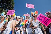 2013/06/15 Roma, corteo del Gay Pride 2013. Nella foto un gruppo di manifestanti.<br /> Rome, Gay Pride rally 2013. In the picture protester hold note reading ' Clean asses ' and ' remove stains from homophobia ' - &copy; PIERPAOLO SCAVUZZO