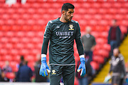 Leeds United goalkeeper Francisco Casilla (13) warming up during the EFL Sky Bet Championship match between Barnsley and Leeds United at Oakwell, Barnsley, England on 15 September 2019.