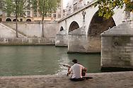 France. Paris. 4th district. Seine river quay des Celestins.  .on right bank /  sur le quai des Celestins