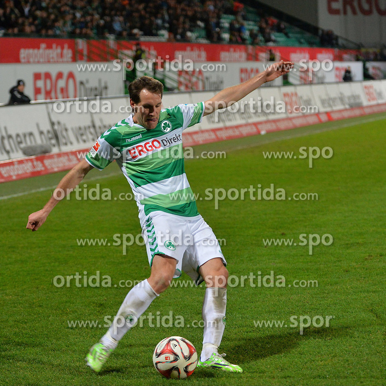 12.12.2014, Trolli Arena, Fuerth, GER, 2. FBL, SpVgg Greuther Fuerth vs RB Leipzig, 17. Runde, im Bild Stephan Fuerstner (Greuther Fuerth) am Ball // during the 2nd German Bundesliga 17th round match between SpVgg Greuther Fuerth and RB Leipzig at the Trolli Arena in Fuerth, Germany on 2014/12/12. EXPA Pictures &copy; 2014, PhotoCredit: EXPA/ Eibner-Pressefoto/ Merz<br /> <br /> *****ATTENTION - OUT of GER*****