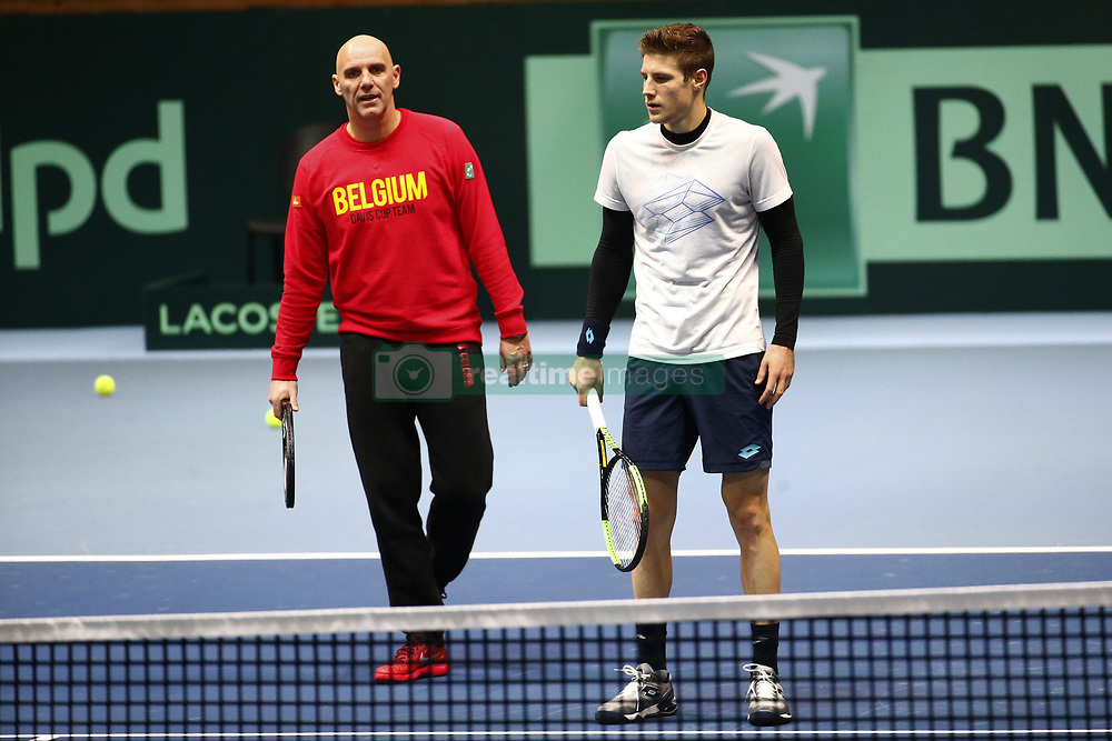November 21, 2017 - Lille, France - LILLE, FRANCE - NOVEMBER 21 : Joris De Loore and Johan Ven Herck  during the training session of the Belgian Davis Cup team  before the Davis Cup World Group Final match between France and Belgium on November 21, 2017 in Lille, France, 21/11/2017. (Credit Image: © Panoramic via ZUMA Press)