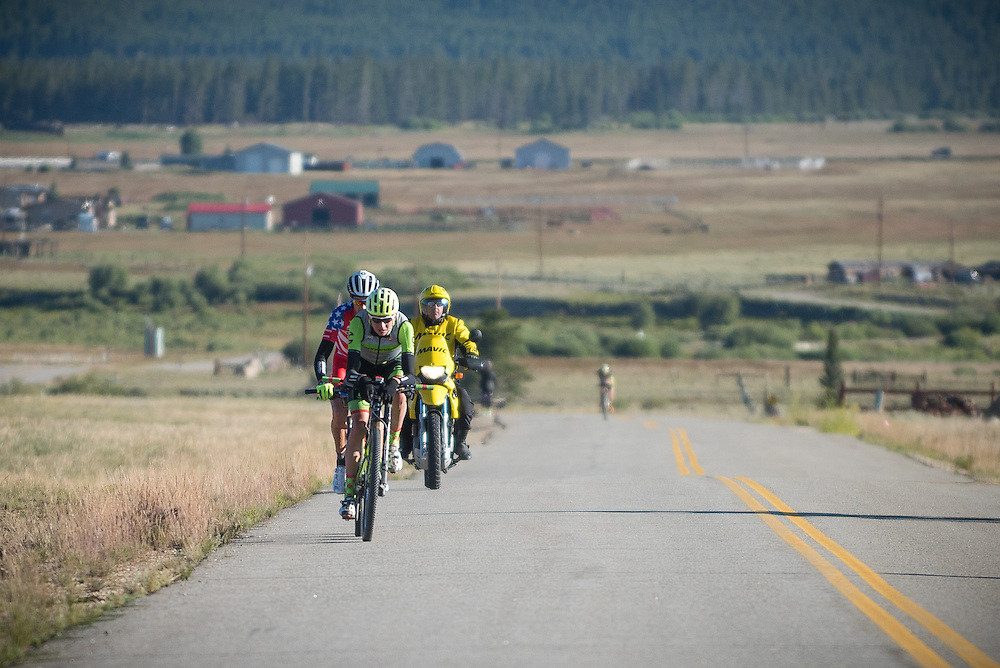 Joe Dombrowski (Cannondale) and Todd Wells (Specialized) with a chasing Jeremiah Bishop (Topeak) along Rt. 11 on their wat to Twin Lakes.  Bishop would eventually bridge the gap and settle for 3rd place.
