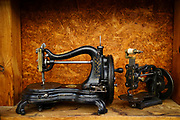 Old vintage manual sewing machine