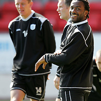 St Johnstone Training...27.04.07<br />All smiles for Jason Scotland during training this morning before tomorrow's first division title clinc game against Hamilton.<br />see story by Gordon Bannerman Tel: 01738 553978 or 07729 865788<br />Picture by Graeme Hart.<br />Copyright Perthshire Picture Agency<br />Tel: 01738 623350  Mobile: 07990 594431