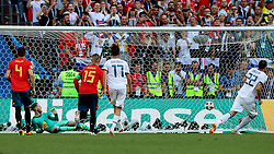 MOSCOW, July 1, 2018  Artem Dzyuba (1st R) of Russia scores a penalty kick during the 2018 FIFA World Cup round of 16 match between Spain and Russia in Moscow, Russia, July 1, 2018. (Credit Image: © Yang Lei/Xinhua via ZUMA Wire)