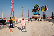 DUBAI, UAE — DECEMBER 30, 2016: Street Food Truck Park called Last Exit on Sheikh Zayed Road