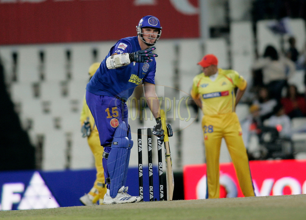 CENTURION, SOUTH AFRICA - 30 April 2009.  during the  IPL Season 2 match between the Rajasthan Royals and the Chennai Superkings held at  in Centurion, South Africa..Rajasthan Royals player Graem Smith in action