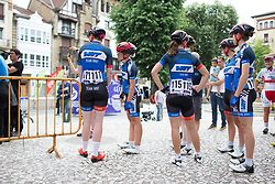 Team WNT riders wait at the sign-on podium before the Durango-Durango Emakumeen Saria - a 113 km road race, starting and finishing in Durango on May 16, 2017, in the Basque Country, Spain.