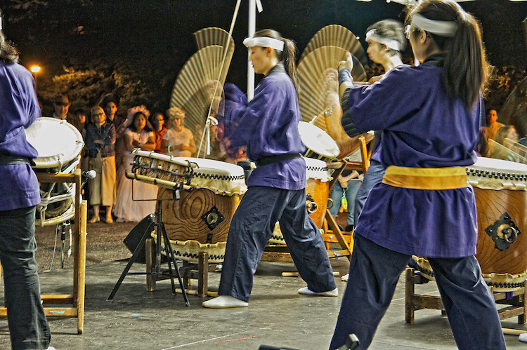 The Japanese Taiko drummer group, Yakudo, entertain during the Relay for Life 2010 Central.