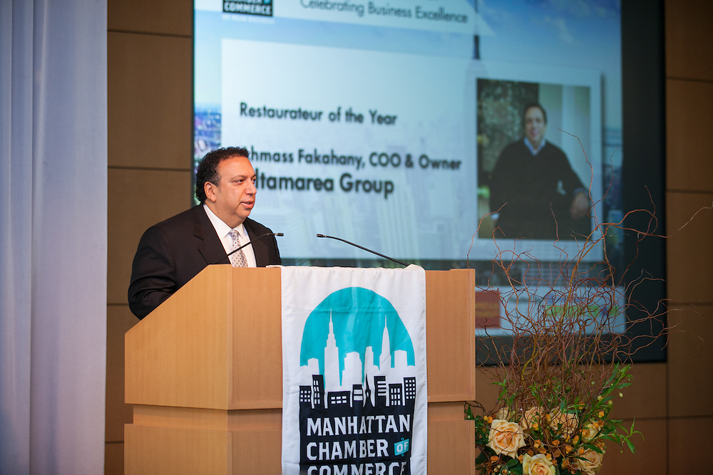 2014 Restaurateur of the Year awardee Ahmass Fakahany, COO & Owner, Altamarea Restaurant Group. Celebrating the business leaders in New York City, who have built outstanding businesses - contributing to the economy and community as well. The MCC Business Awards Breakfast is the Manhattan Chamber's premiere event adn was attended by over 250 entrepreneurs, business owners, executives and legislative leaders in New York City. (Photo: www.JeffreyHolmes.com)